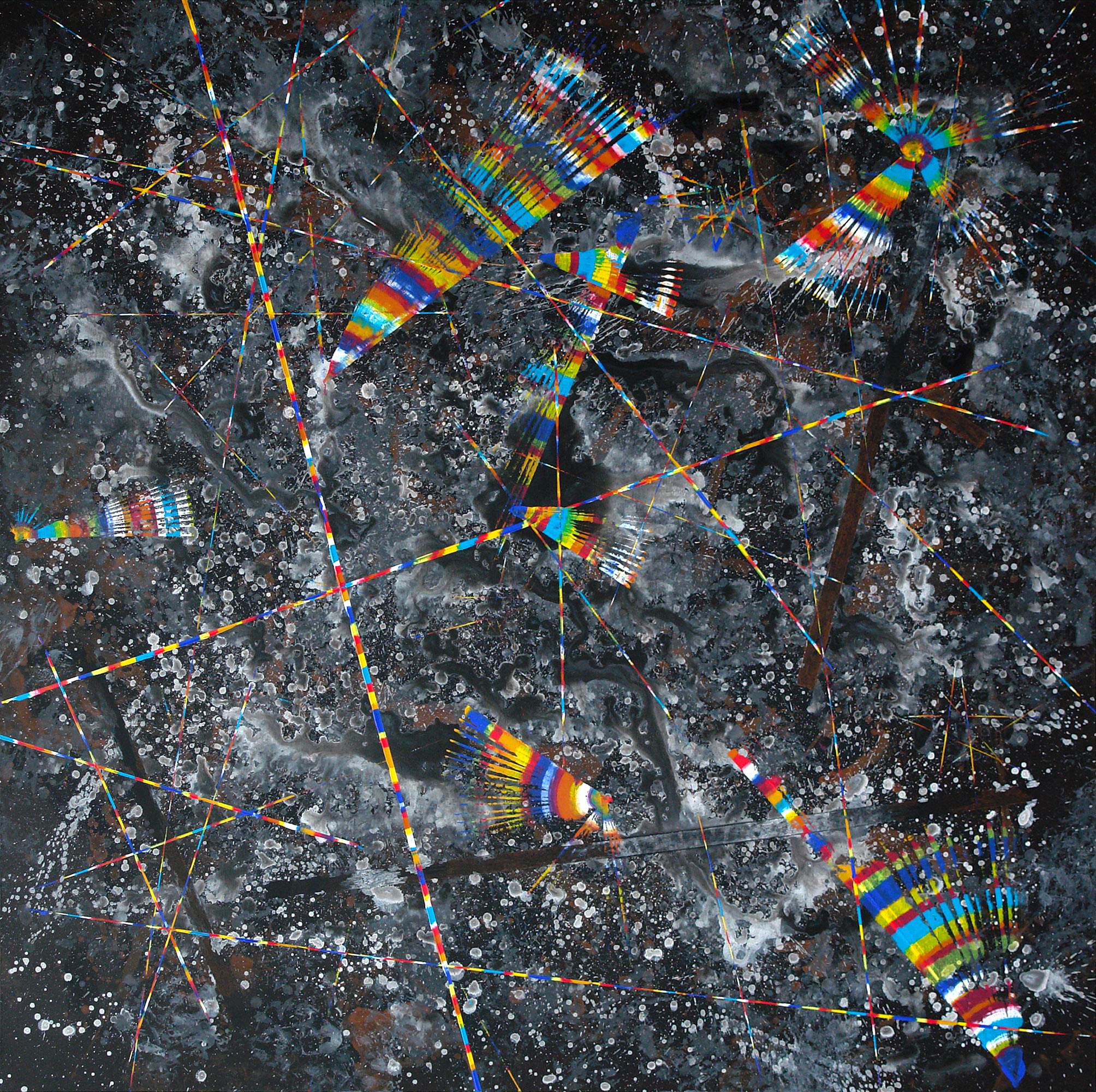 MELODIES OF SPACE, 2019 acrylic on canvas, original media; 150 х 150 cm
