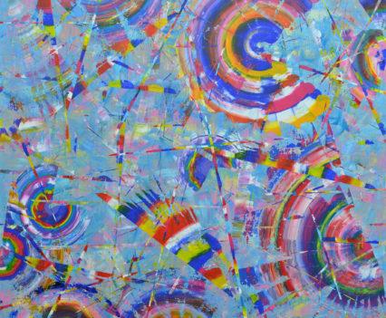 MIRACLE JOURNEYS, 2018 acrylic on canvas, original media; 120 х 120 cm