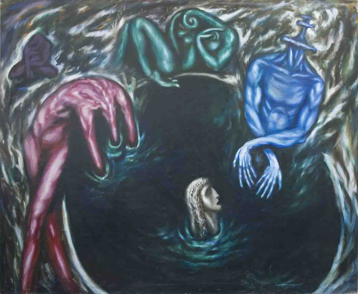 DIALOGUE ABOUT IMMORTALITY, 1991, oil jn canvas, 250 x 200 cm.