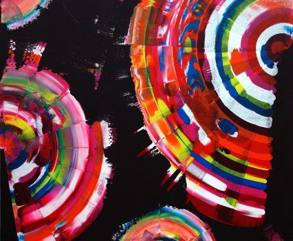 SOLAR SPECTRAL GLORIFICATION, 2013, acrylic on canvas, original media; 150 x 150 cm. Private collection