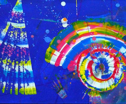 WONDERFUL STARRY SKY, 2016, acrylic on canvas, original media; 40 x 190 cm.