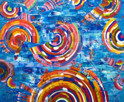 RADUGEMS OVER THE SEA, 2016 acrylic on canvas, original media; 150 x 150 cm. Private collection
