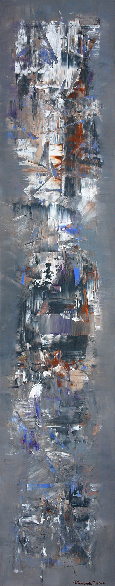 WAY OF SAMURAI, 2017 acrylic on canvas, original media; 190 х 40 cm