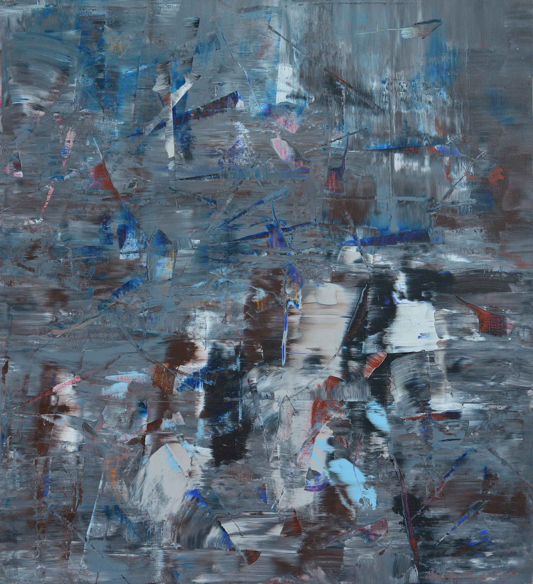 LONDON, TWILIGHT, RAIN, CITY LIGHTS AND CARS BEHIND THE GLASS CAFE, 2017 acrylic on canvas, original media; 120 x 110 cm